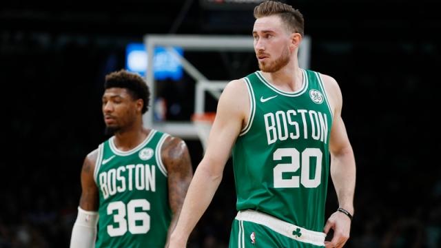 Boston Celtics guard Marcus Smart and forward Gordon Hayward