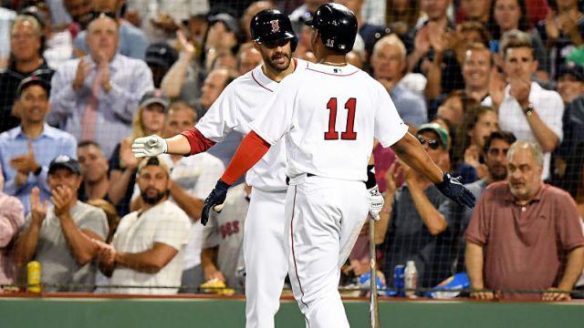 Boston Red Sox third baseman Rafael Devers and left fielder J.D. Martinez