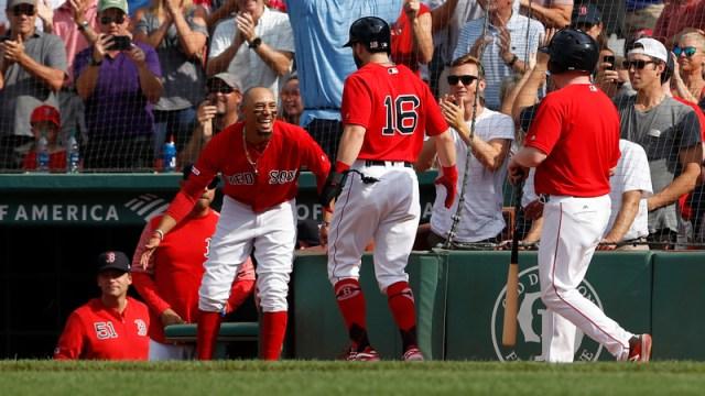 Red Sox outfielders Mookie Betts, Andrew Benintendi