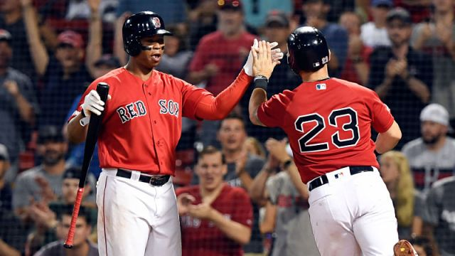 Boston Red Sox infielders Rafael Devers, Michael Chavis