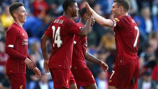 Liverpool striker Rhian Brewster (24) and midfielder James Milner (right), James Milner