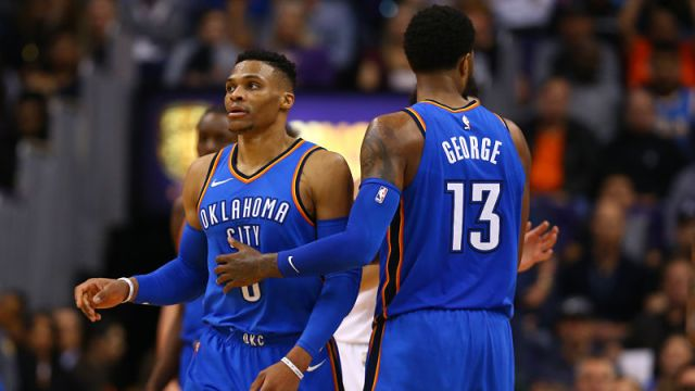 Oklahoma City Thunder guard Russell Westbrook and Los Angeles Clippers forward Paul George
