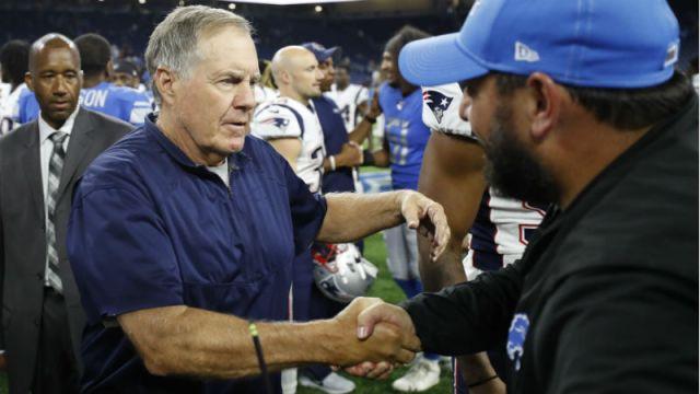 New England Patriots head coach Bill Belichick and Detroit Lions head coach Matt Patricia