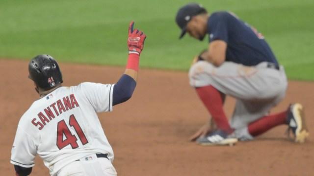 Cleveland Indians First Baseman Carlos Santana