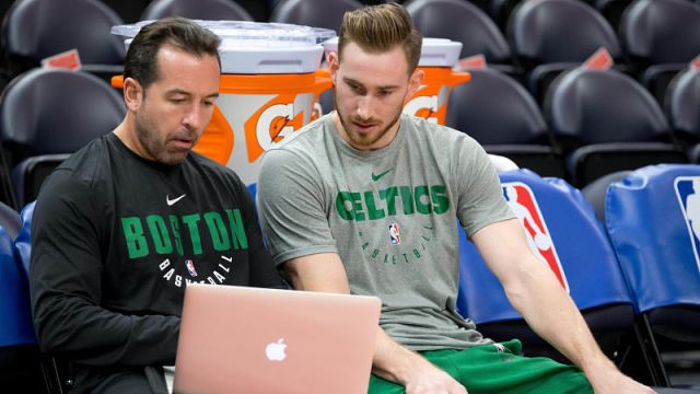 Boston Celtics forward Gordon Hayward and assistant coach Scott Morrison