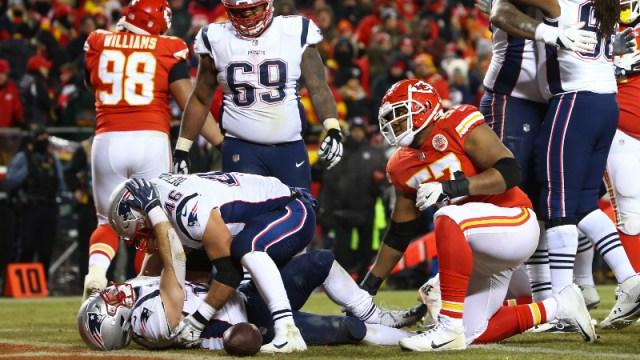 New England Patriots running back Rex Burkhead (34) and fullback James Develin (46)