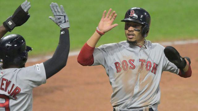 Boston Red Sox right fielder Mookie Betts and center fielder Jackie Bradley Jr.