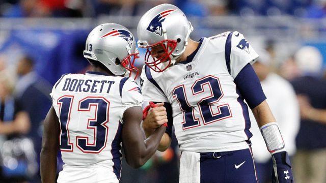 New England Patriots wide receiver Phillip Dorsett and quarterback Tom Brady
