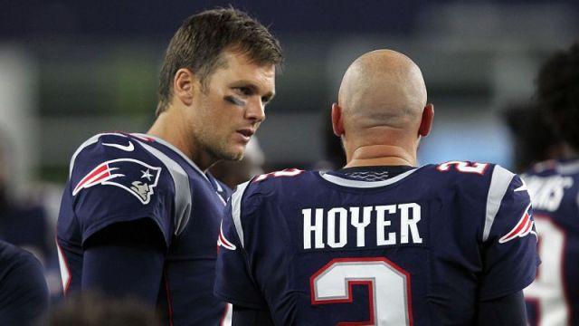New England Patriots quarterbacks Tom Brady and Brian Hoyer