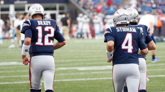 New England Patriots quarterbacks Tom Brady, Jarrett Stidham