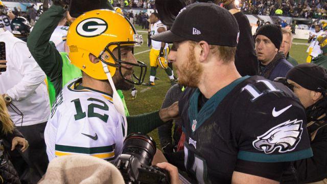 Green Bay Packers quarterback Aaron Rodgers and Philadelphia Eagles quarterback Carson Wentz
