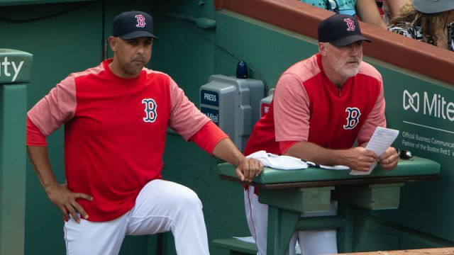 Boston Red Sox manager Alex Cora and pitching coach Dana LeVangie