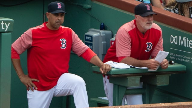 Boston Red Sox manager Alex Cora (left) and pitching coach Dana LeVangie