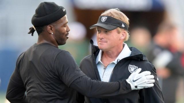 New England Patriots Wide Receiver Antonio Brown And Oakland Raiders Head Coach Jon Gruden