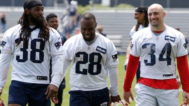 Patriots running backs Brandon Bolden, James White, Rex Burkhead