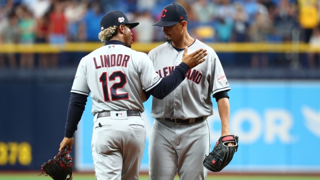 Cleveland Indians' Francisco Lindor And Carlos Carrasco