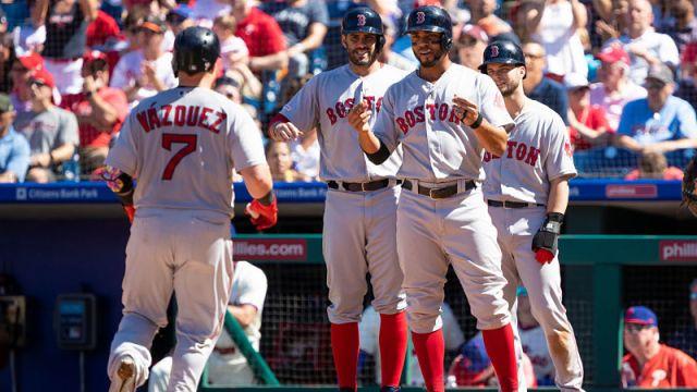 Boston Red Sox catcher Christian Vazquez and shortstop Xander Bogaerts
