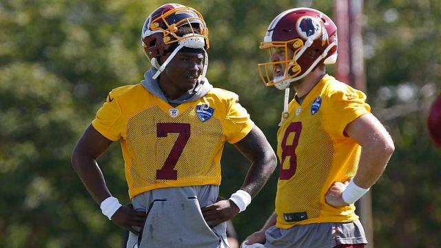 Washington Redskins quarterbacks Dwayne Haskins Jr., Case Keenum