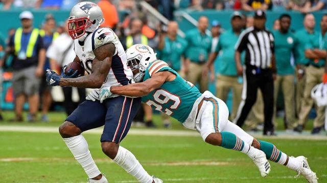 Miami Dolphins free safety Minkah Fitzpatrick and New England Patriots wide receiver Josh Gordon