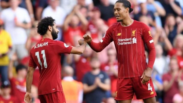 Liverpool forward Mohamed Salah (11) and defender Virgil van Dijk