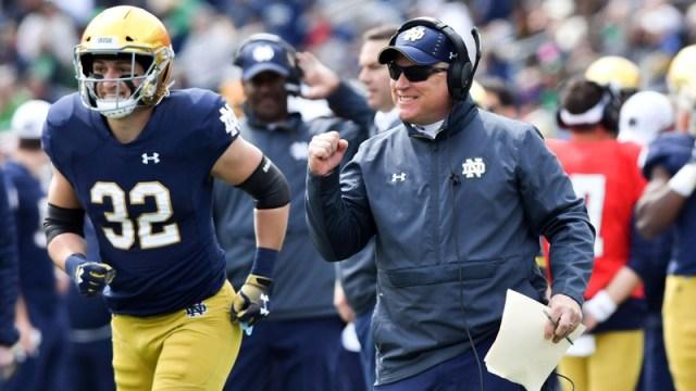 Notre Dame Fighting Irish offensive line coach Jeff Quinn