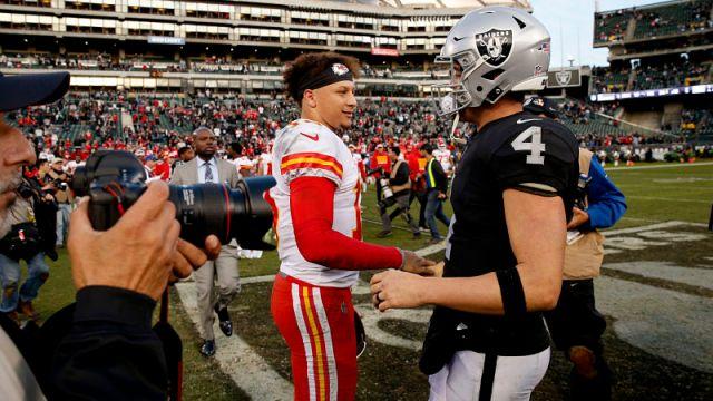 Kansas City Chiefs quarterback Patrick Mahomes and Oakland Raiders quarterback Derek Carr