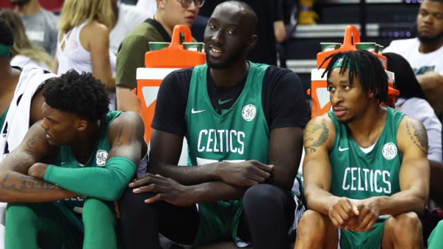Boston Celtics center Tacko Fall (center)