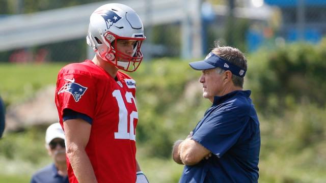 Former New England Patriots quarterback Tom Brady and head coach Bill Belichick