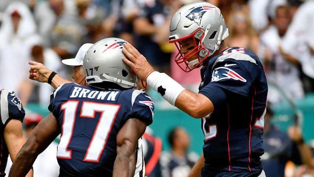 New England Patriots quarterback Tom Brady and receiver Antonio Brown