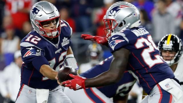 Patriots quarterback Tom Brady, running back Sony Michel