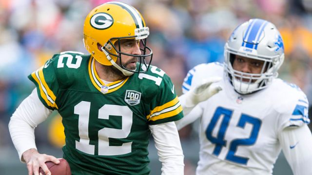 Green Bay Packers quarterback Aaron Rodgers and Detroit Lions linebacker Devon Kennard
