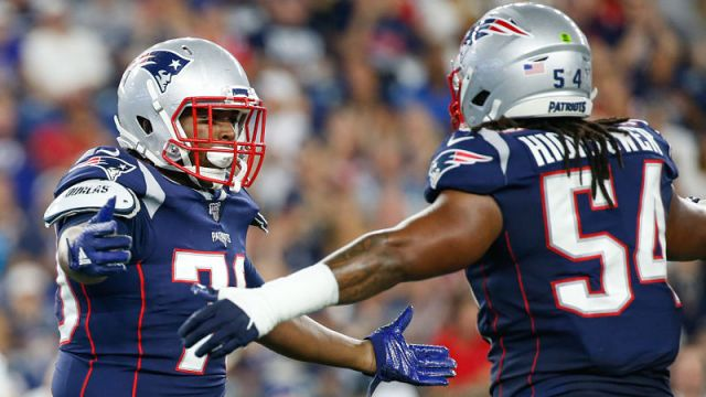 New England Patriots defensive tackle Adam Butler and linebacker Dont'a Hightower