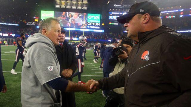 New England Patriots head coach Bill Belichick and Cleveland Browns head coach Freddie Kitchens