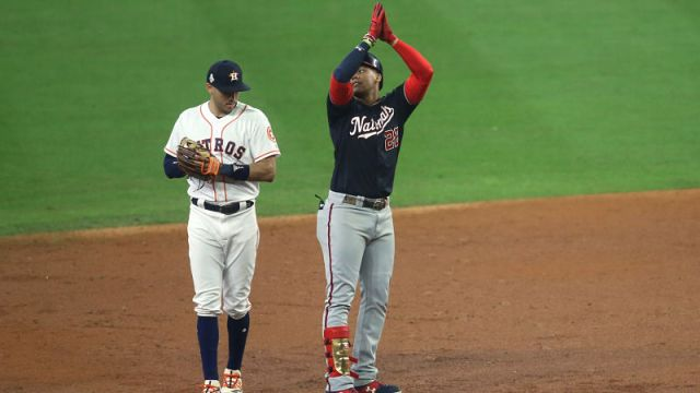 Houston Astros shortstop Carlos Correa and Washington Nationals left fielder Juan Soto