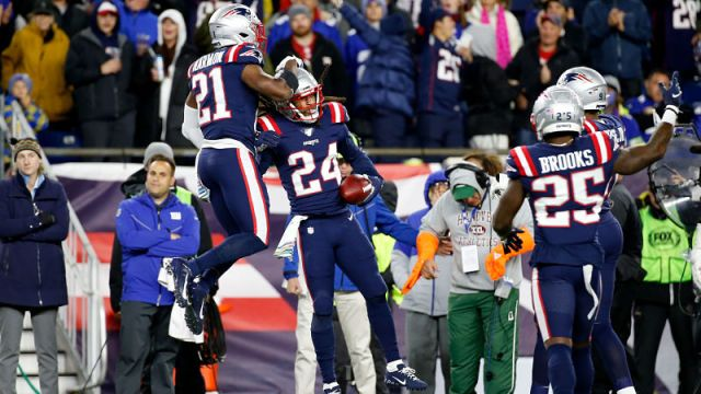 New England Patriots defensive backs Duron Harmon, Stephon Gilmore and Terrence Brooks