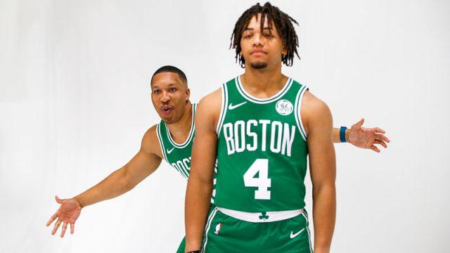 Boston Celtics forward Grant Williams and guard Carsen Edwards