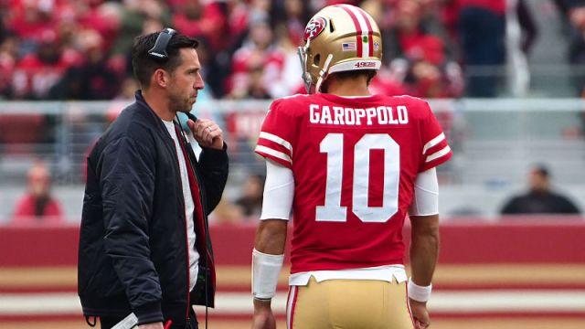 San Francisco 49ers head coach Kyle Shanahan and quarterback Jimmy Garoppolo
