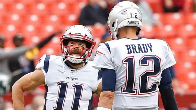 New England Patriots wide receiver Julian Edelman and quarterback Tom Brady