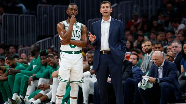 Boston Celtics head coach Brad Stevens and guard Kemba Walker