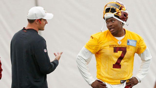 Washington Redskins offensive coordinator Kevin O'Connell and quarterback Dwayne Haskins