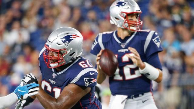 Patriots right tackle Marcus Cannon, quarterback Tom Brady