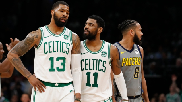 New York Knicks' Marcus Morris And Brooklyn Nets' Kyrie Irving
