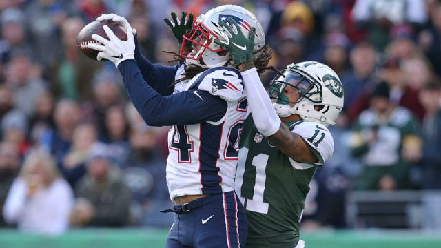 New England Patriots cornerback Stephon Gilmore and New York Jets wide receiver Robby Anderson