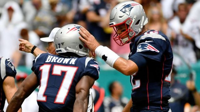New England Patriots quarterback Tom Brady and Antonio Brown