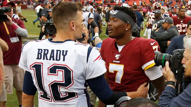 New England Patriots quarterback Tom Brady and Washington Redskins quarterback Dwayne Haskins