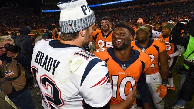 New England Patriots quarterback Tom Brady and Denver Broncos wide receiver Emmanuel Sanders