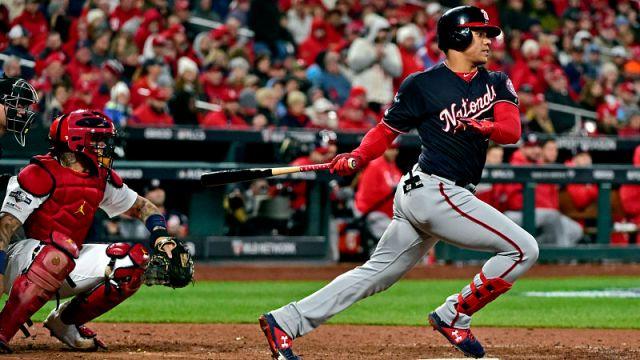 St. Louis Cardinals catcher Yadier Molina and Washington Nationals outfielder Juan Soto