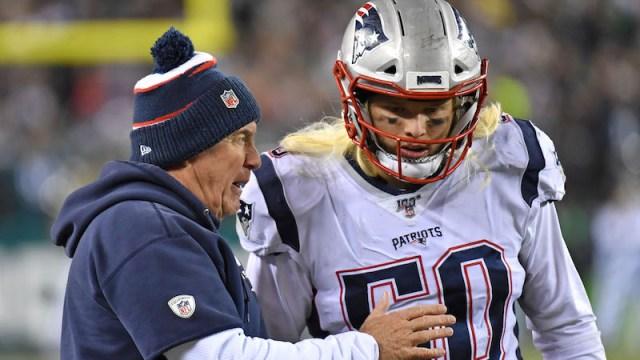 Patriots head coach Bill Belichick, linebacker Chase Winovich