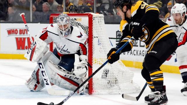 Boston Bruins right wing David Pastrnak (88) and Washington Capitals goaltender Braden Holtby (70)