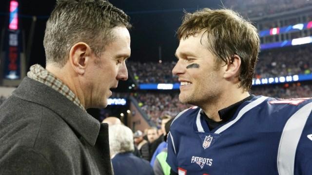 Former New England Patriots quarterback Drew Bledsoe, and Patriots quarterback Tom Brady